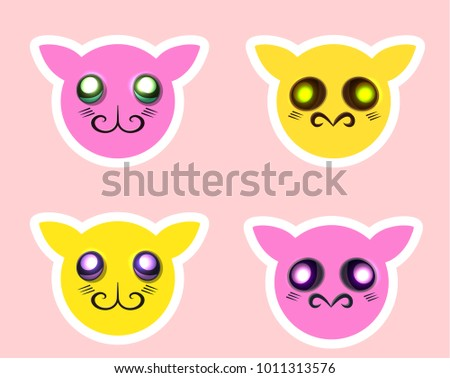 set of cute comic cartoon character faces with different emotions; realisitc colorful bright smile stickers for user interface, comic character, card, web design, textile; sad boog; funny monsters. Stockfoto ©