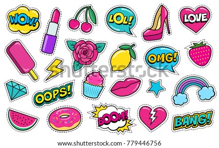 Set of cute fashion patches, strawberry, lipstick, ice-cream, donut, shoe, rose, diamond, lips, watermelon, cherry, cupcake, speech bubbles etc. Cartoon stickers, 80s-90s style.  #779446756