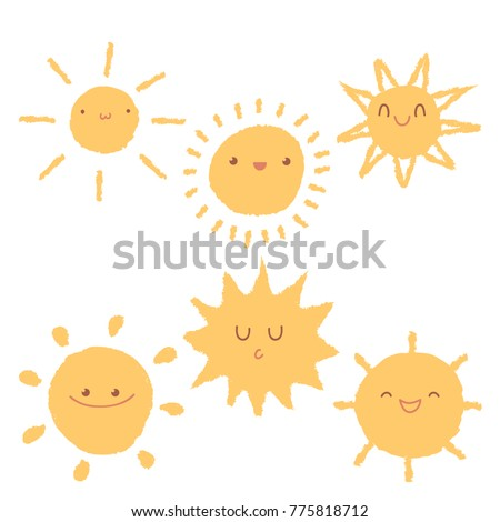 Set of cute hand-drawn sun icons. Isolated cartoon summer raster illustrations on white background. Rough edges imitating pencil, crayon or brush.
