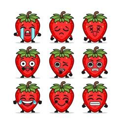 Set of cute multi faced strawberries