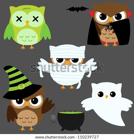 Set of cute owls in Halloween costumes. Raster version.