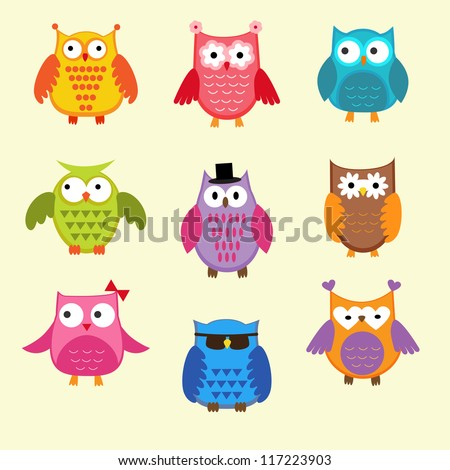 Set of cute owls. Raster version