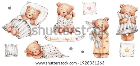 Set of cute teddy bears, pillows and lettering 'good night'; watercolor hand drawn illustration; can be used for baby shower or postcards; with white isolated background ストックフォト ©