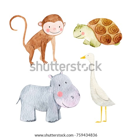 Set of cute watercolor illustrations of animals, isolated object on white background,  a goose, a tortoise and a Hippo, monkey