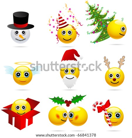 Set of cute winter and Christmas characters