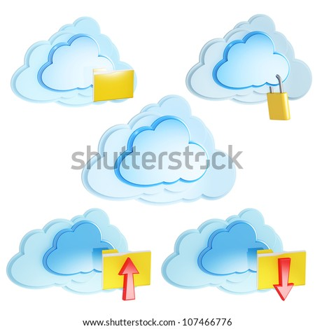 set of 3d cloud computing icon with folders and arrows on a white background