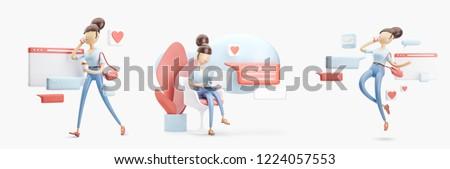 Set of 3d illustrations. cartoon character sitting on a bubble talk. social media concept.