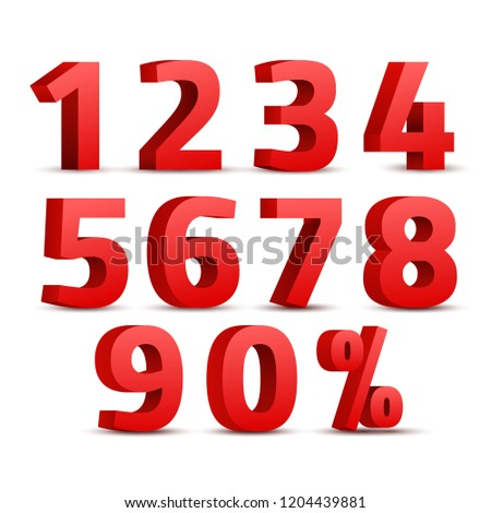Set of 3D red numbers sign. 3D number symbol with percent discount design. #1204439881