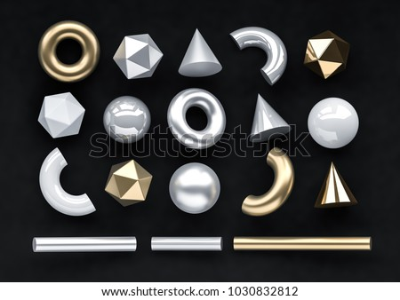Set of 3d render realistic primitives on black background. Isolated graphic  elements. Spheres, torus, tubes, cones and other geometric shapes in gold, white, silver colors for trendy designs.