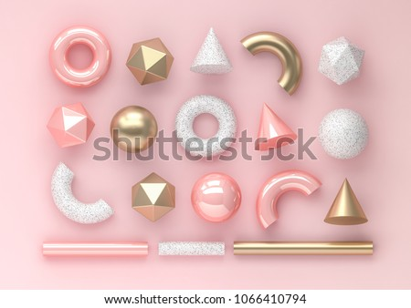 Set of 3d render realistic primitives on pink background. Isolated graphic elements. Spheres, torus, tubes, cones and other geometric shapes in golden metallic and white colors for trendy designs.