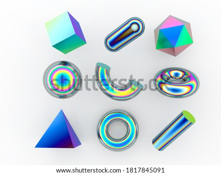 Set of 3d render realistic primitives on white background. Isolated graphic element: sphere, torus, cube, icosahedron and other geometric shapes in holographic rainbow colors. stock photo
