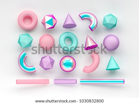 Set of 3d render realistic primitives on white background. Isolated graphic  elements. Spheres, torus, tubes, cones and other geometric shapes in pink, holographic glass colors for trendy designs.  stock photo