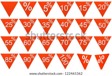 Set of 3D rendered triangular prism blocks with percent and number symbols on a white background