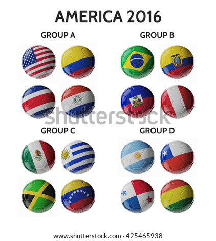 Shutterstock Set of 3d soccer balls with flags.