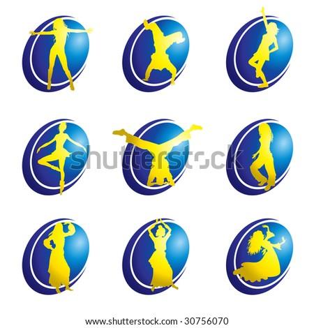 Set of dance web icons