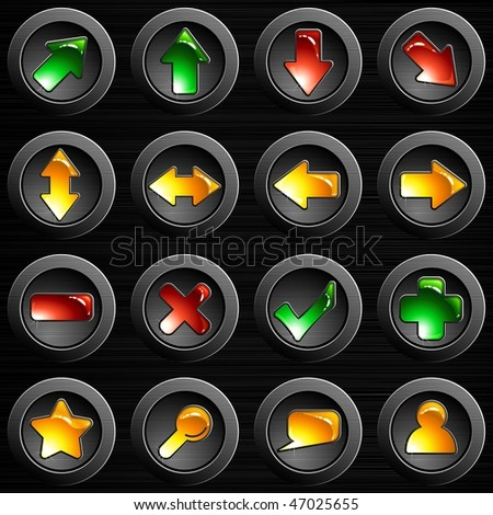 Set of dark brushed steel buttons (JPG); vector version also available