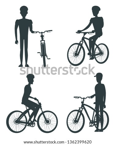Set of dark silhouettes various bikes and cyclists black white raster illustration isolated on bright backdrop standing riding sportsmen