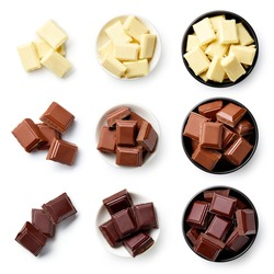 Set of dark, white and milk chocolate pieces isolated on white background, top view