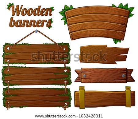 Set of dark wooden banners 2. Cartoon illustration
