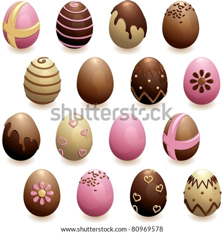 Set of decorated chocolate eggs (jpg); vector version also available