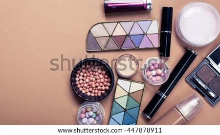 Set of decorative cosmetics on light color background #447878911