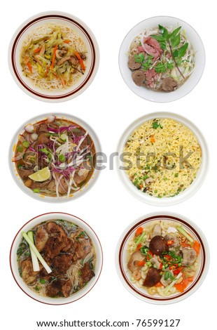 set of decorative noodle bowl in viet food