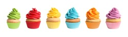 Set of delicious birthday cupcakes on white background. Banner design