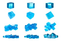 Set of delicious blue jelly cubes on white background