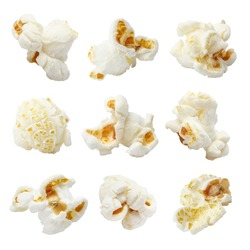 Set of delicious popcorn, isolated on white background