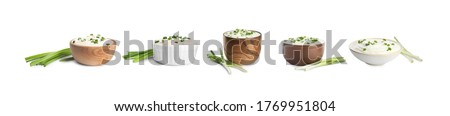 Set of delicious sour cream with onion in bowls on white background. Banner design Photo stock ©