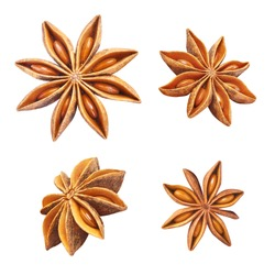 Set of delicious star anise, isolated on white background