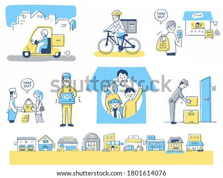 Set of delivery service and takeout images