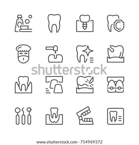 Set of dental related line icons isolated on white