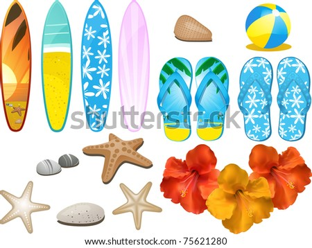 Set of design elements with flip flops, surfboards, hibiscus flowers, beach ball and other beach related objects