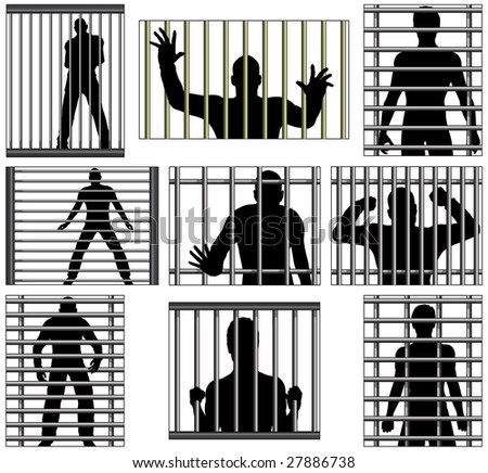 Set of  designs of men behind prison bars. Vector file also available.