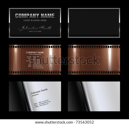 Set of 3 detailed business card template (plus 3 blank template)