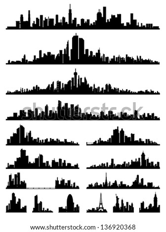 set of detailed city ??silhouette
