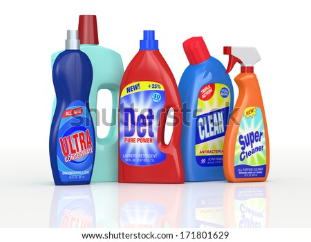 set of detergent bottles with labels. the labels are a my design and not a reproduction of commercial products (3d render)