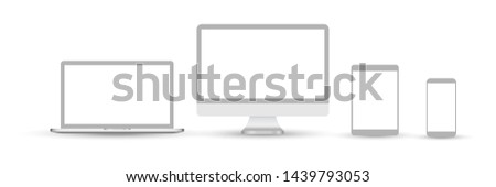 Set of devices icons. Set of devices icons. Devices isolated on white background. Icons: computer screen, laptop, tablet pc, smartphone, electronic book - stock  illustration