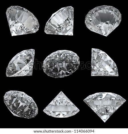 Set of 9 diamonds with clipping path