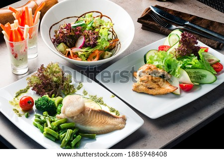 Set of diet dishes. Assortment of food set diet dish lunch on a table. Paleo, keto, fodmap, dash diet. Healthy concept, gluten free, lectine free