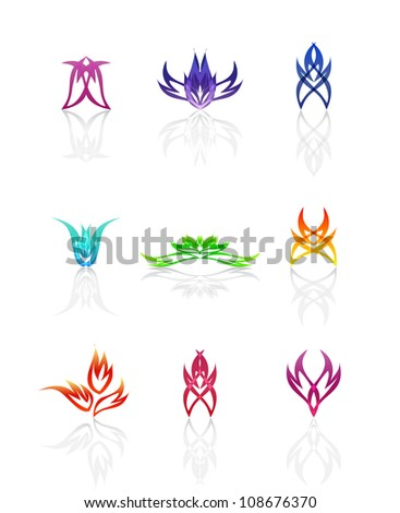 Set of different abstract symbols for design, such a logo. Vector version is also available