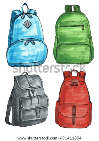 Set of different backpacks, men, women and unisex. Backpacks isolated on white background. An illustration drawn by markers.