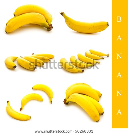 set of different banana images over white background