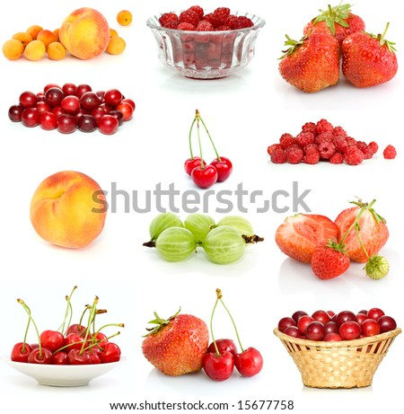 Set of different berries isolated on the white background