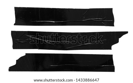 Set of different black scotch sticky tapes isolated on white background. Torn wrinkled sellotape pieces collection. Photo stock ©