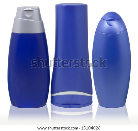 set of different blue cosmetic bottles isolated over white with clipping path
