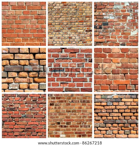 set of different brick wall collage