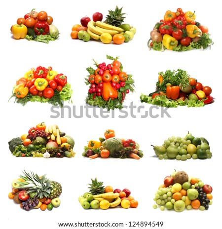 Set of different bright and tasty fruits and vegetables isolated on white background