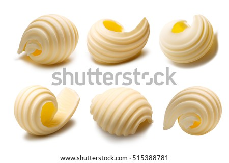 Set of different butter curls or rolls. Clipping paths, shadows separated